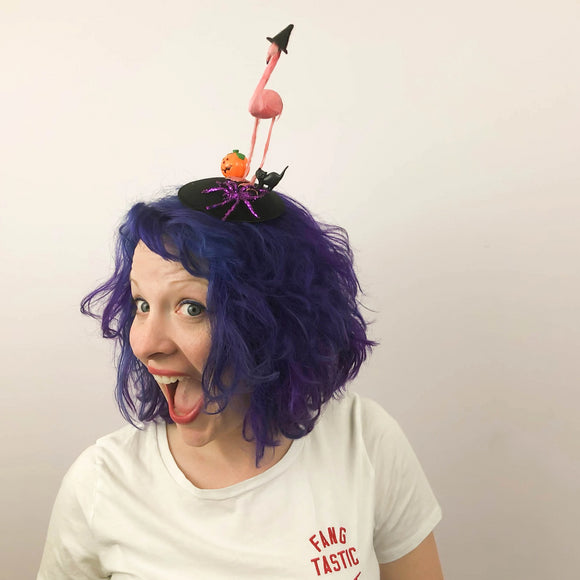 Flamingo Witch & Black Cat Halloween Fascinator, Halloween Headband