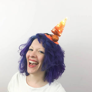 Candy Corn Tree with Lights! Fascinator, Halloween Bottlebrush Tree Tablescape
