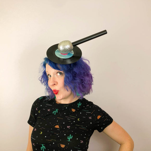 Karaoke Queen Fascinator, Glitter Microphone and Record Fascinator, Music Fascinator