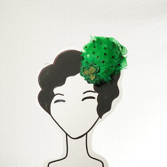 Green Feathered St. Patrick's Day Fascinator, Shamrock Fascinator