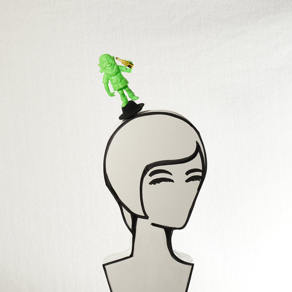 Vintage Green Leprechaun with Beer Top Hat Hair Clip: St. Patrick's Day Fascinator