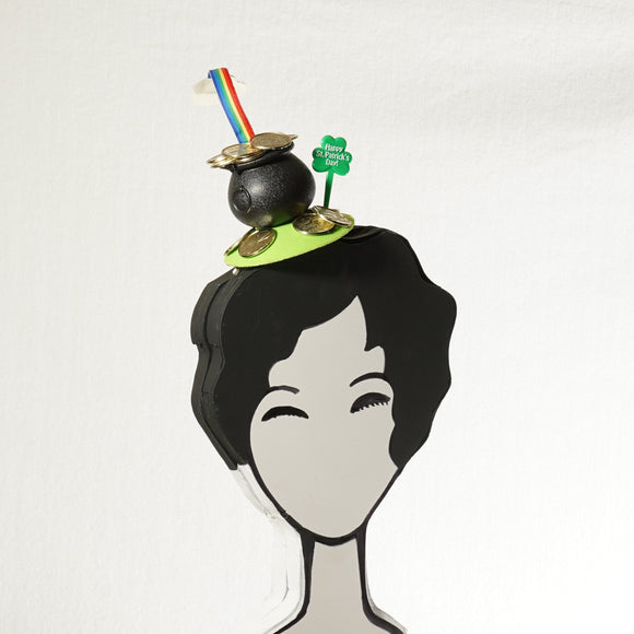 Pot of Gold with Rainbow St Patrick's Day Leprechaun Hat: Rainbow Fascinator
