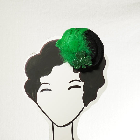 Green Feathered Pillbox Fascinator St. Patrick's Day Fascinator, Shamrock Fascinator