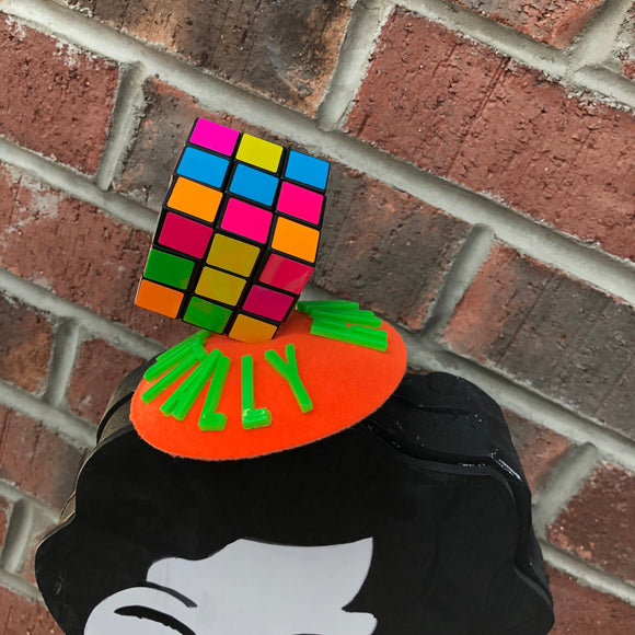 Totally Rad Puzzle Cube Fascinator, 1980s Novelty Hat