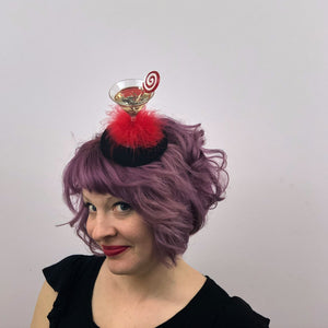 Peppermint Swirl Cocktail Fascinator, Christmas Cocktail Fascinator