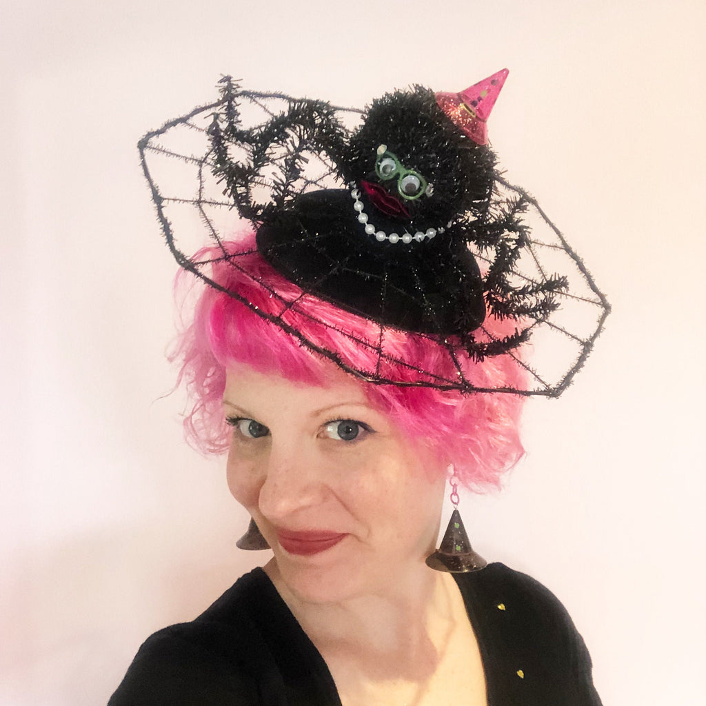 Fancy Spider Witch on Spiderweb Fascinator, Spider Fascinator