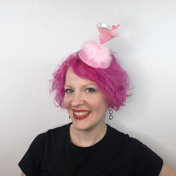 Light Pink Flamingo Cocktail Fascinator, Glitter Martini Fascinator