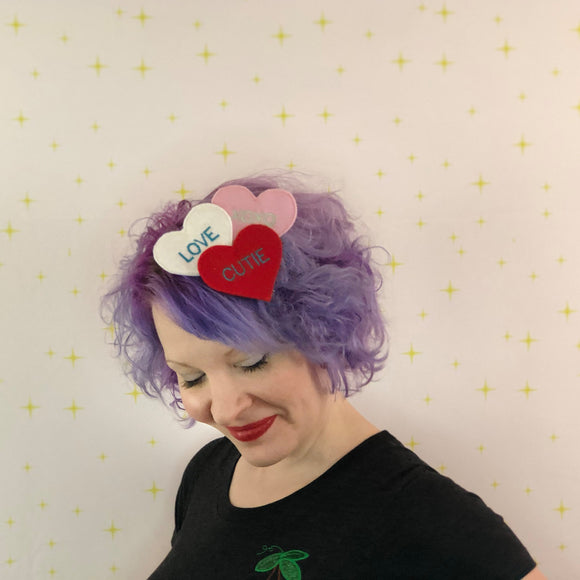 Valentine Conversation Heart Fascinator, Valentine Candy Hair Clip