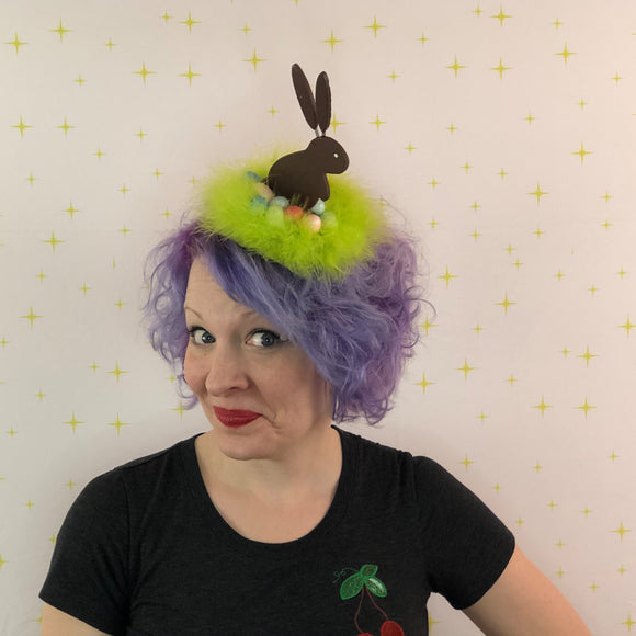 Chocolate Bunny Fascinator, Easter Bonnet