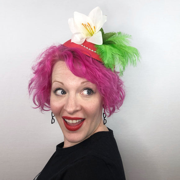 Retro Styled Lily Fascinator, Flower Fascinator