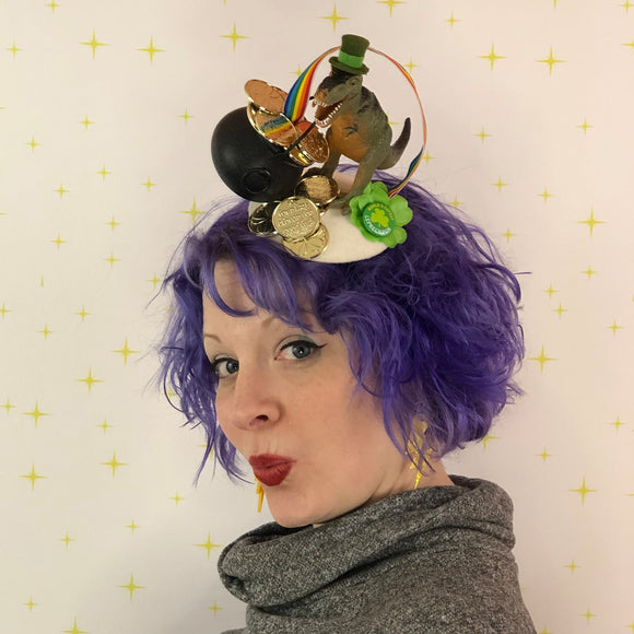 World's Cutest Leprechaun Dinosaur Fascinator, St. Patrick's Day Fascinator