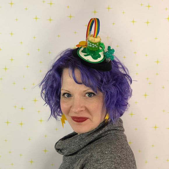 Green Beer and Rainbow Top Hat Fascinator, St. Patrick's Day Fascinator