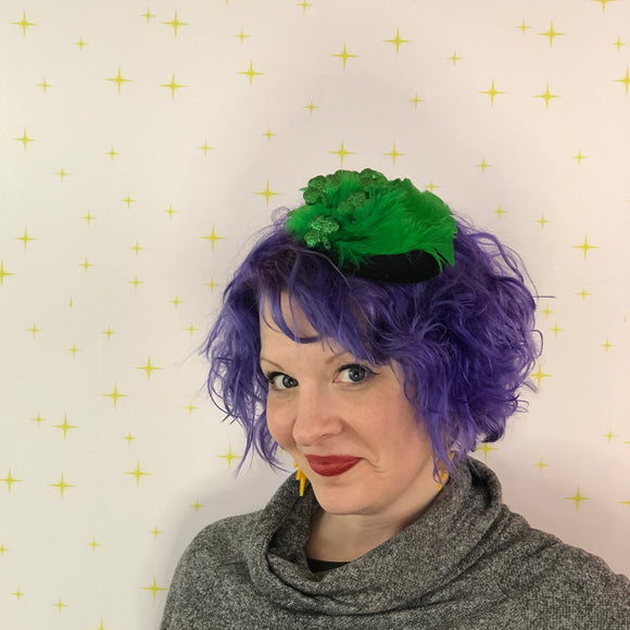 St. Patrick's Day Fascinator, Feathered Tilt Fascinator with Shamrocks