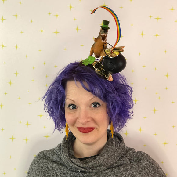 Lucky Leprechaun Dinosaur Fascinator, St. Patrick's Day Fascinator