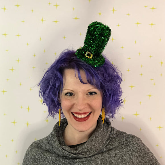 St Patrick's Day Leprechaun Hat, Green Tinsel Top Hat