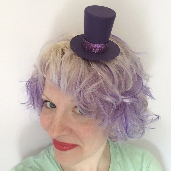 Mini Purple Top Hat: Willy Wonka Inspired Costume