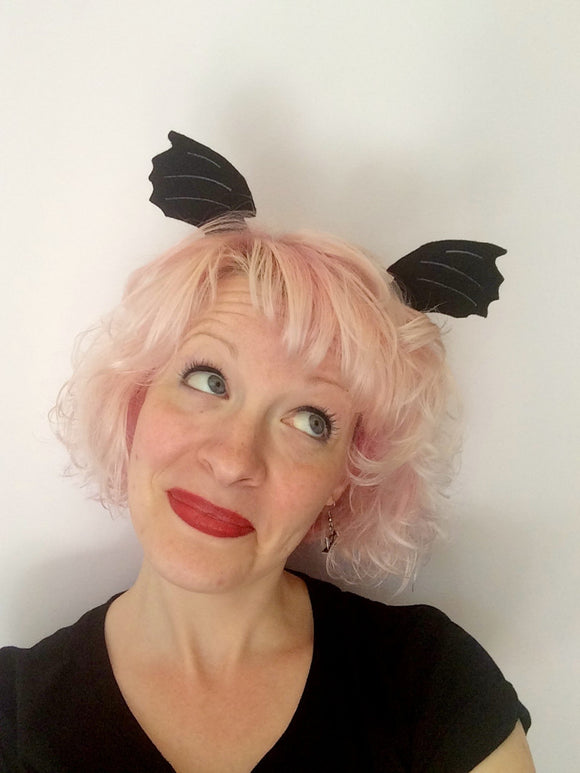 Bat Wing Hair Clips: Black Bat Wings