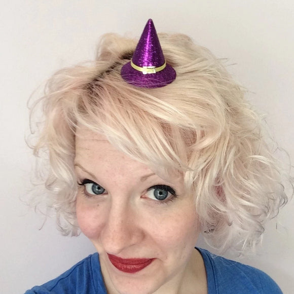 Super Mini Purple Glitter Witch Hat Hair Clip