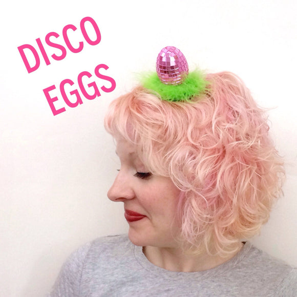 CLEARANCE Pink Disco Egg Easter Fascinator, Kitschy Easter Bonnet