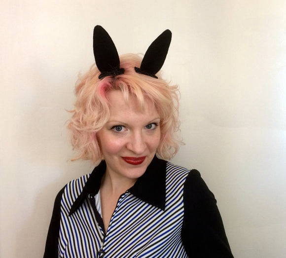 Black Cosplay Bunny Ear Hair Clips, Easter Bunny Fascinator