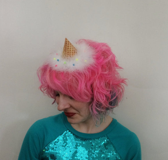 Vanilla Ice Cream with Sprinkles Ice Cream Cone party hat, Ice Cream Fascinator