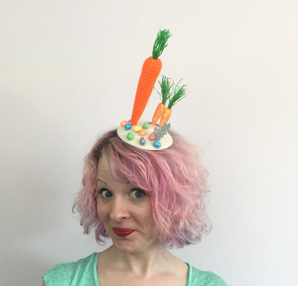 Carrots and Bunny Easter Fascinator, Easter Bonnet