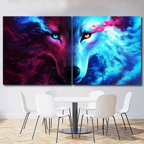 Wolf multi-color – Extra Large Metal Wall Art