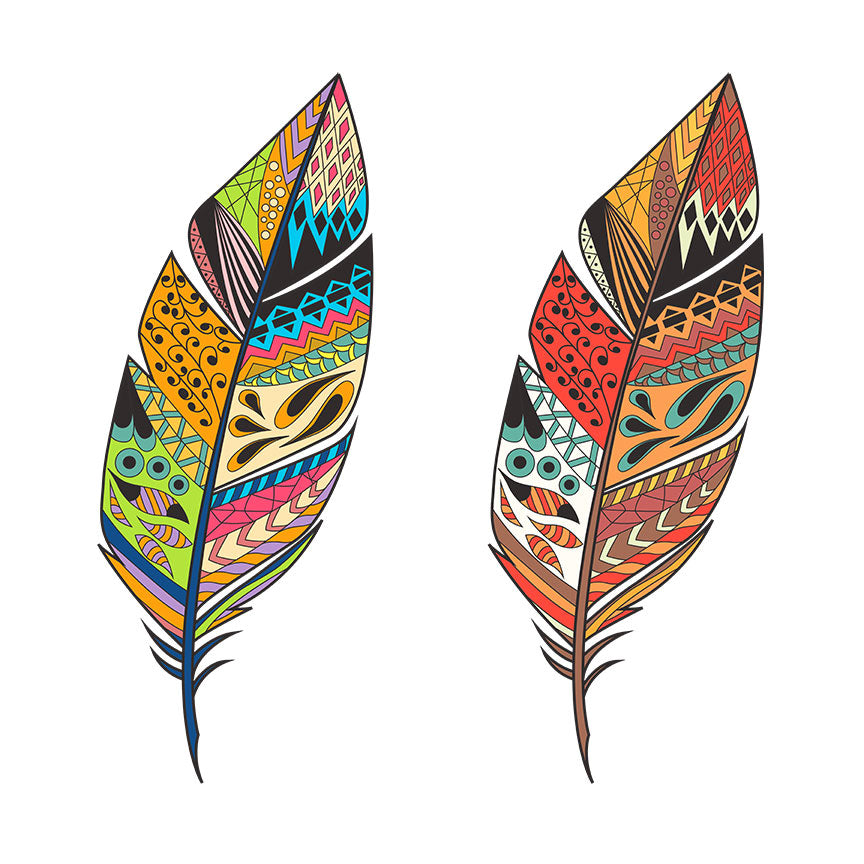 Tribal Multicolor Patterned Feathers – Extra Large Digital Art Print