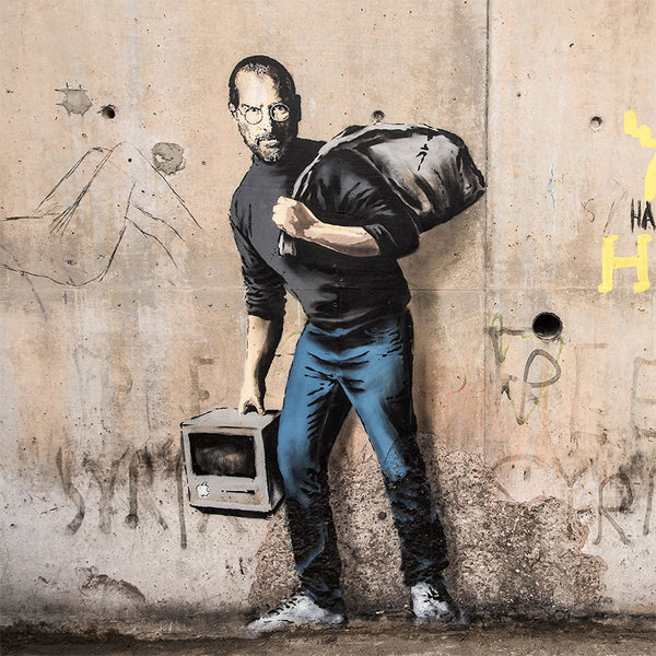Banksy Steve Jobs portrait in Calais, Graffiti Street Art – Metal Poster