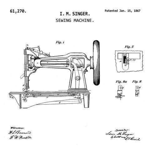 VINTAGE SEWING MACHINE.  (1867, I. M. SINGER) Patent Print