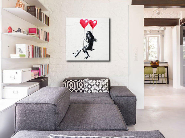 Banksy Swinging Girl, Graffiti Street Art – Print on Metal