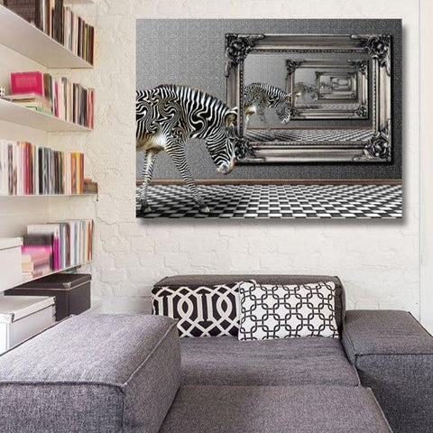 Zebra in the mirrors, Abstract Black White Photo