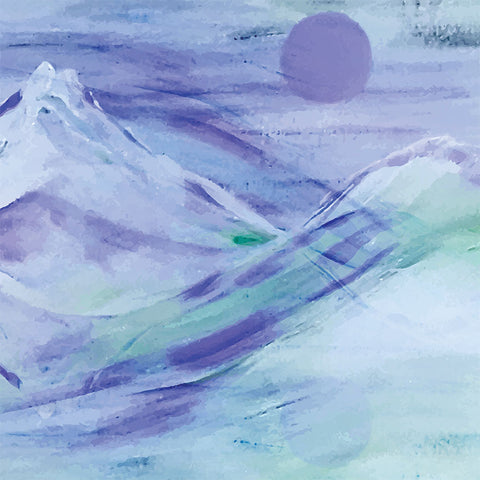 Watercolor Landscape Mountains  in Blue – Extra Large Metal Wall Art Print