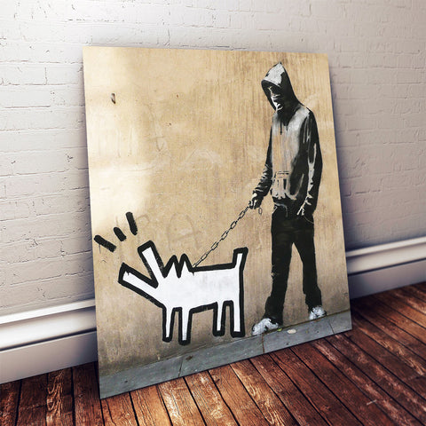 Banksy Haring Dog (2005) – Street Art – Photo on metal (Dibond)