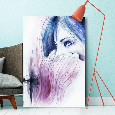 Watercolor Woman Portrait – Extra Large Metal Art
