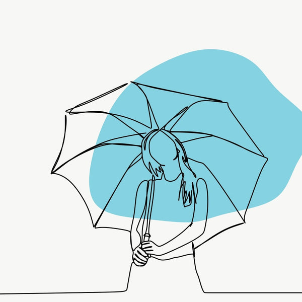 Woman with Umbrella, One Line Drawing, Extra Large Digital Metal Art Print