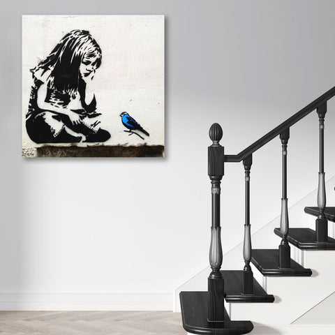Banksy, Girl with Blue Bird, Street Art