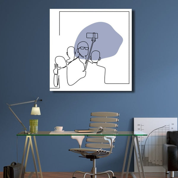 Selfi, One Line Drawing – Extra Large Metal Art Print