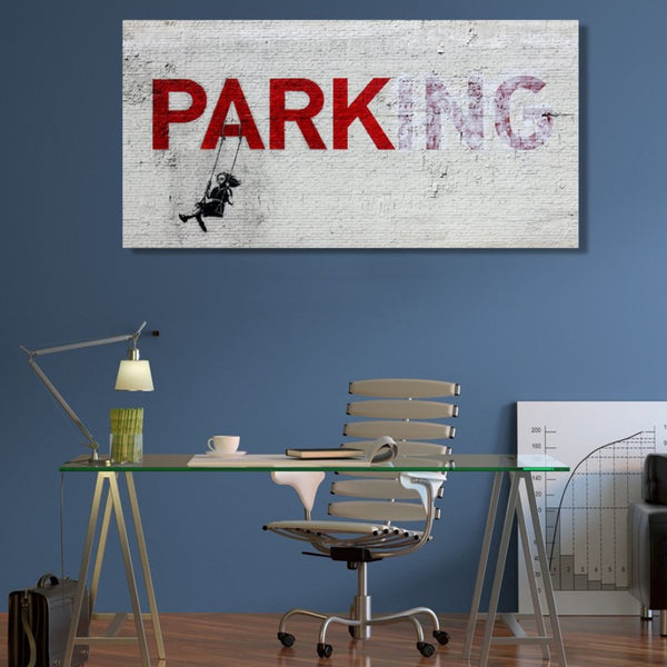 Banksy Parking Girl Swing, Graffiti Street Art, Print on Metal