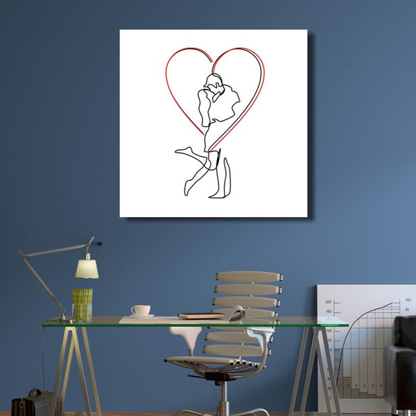 Couple in love – One Line Drawing, Extra Large Digital Art Print on Metal