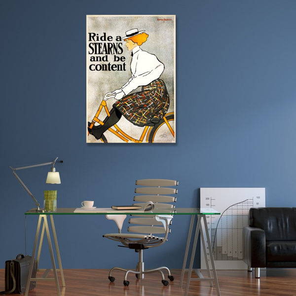 Women in Cycling Retro Advertising – Large Art printed on Metal