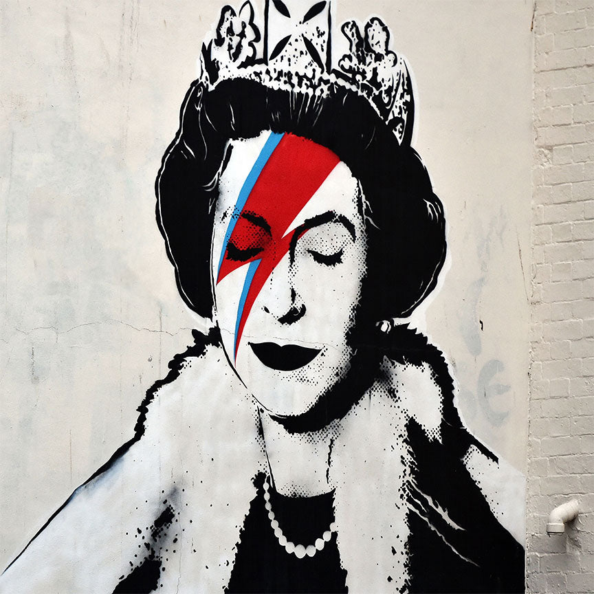Banksy Queen Bowie– Street Art – Print on Metal (Dibond)