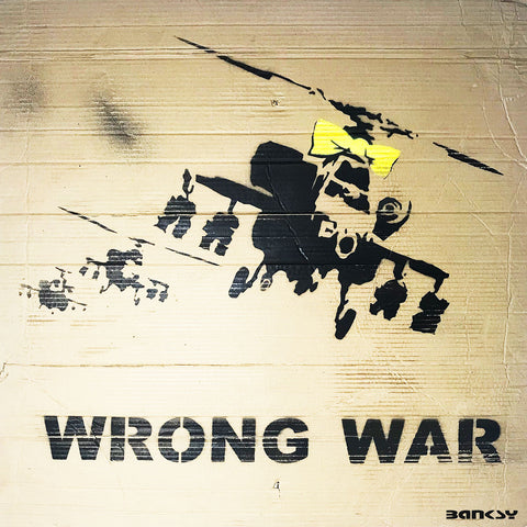Banksy Wrong War, Graffiti Street Art – Print on Metal