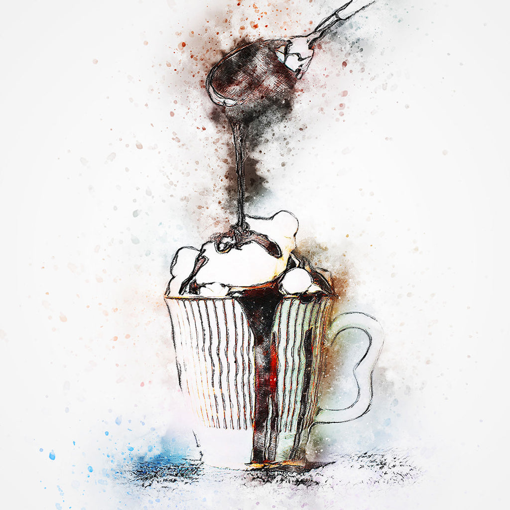 Spoonful by Carlo Felipe, Watercolor Art Printed on Metal