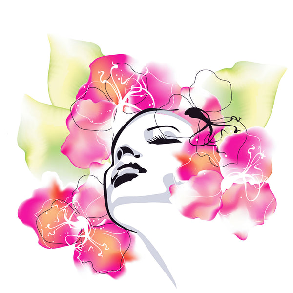 Woman Portrait with Flowers, Digital Metal Art Print