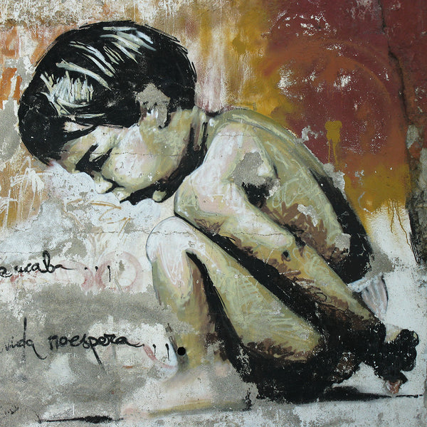 Sitting Boy not Banksy, Graffiti Street Art – Metal Poster