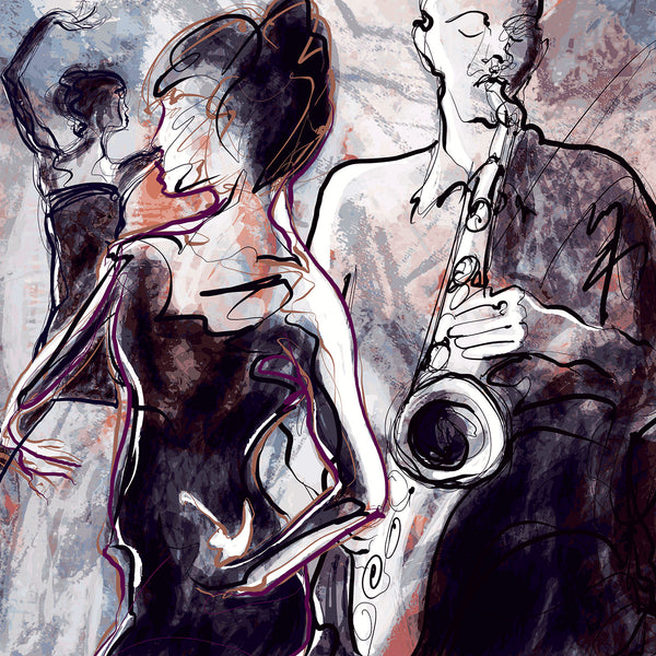 Jazz musicians – Digital art on metal