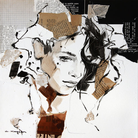 Carme Magem, Sense. Woman Portrait – Collage Art Printed on Metal