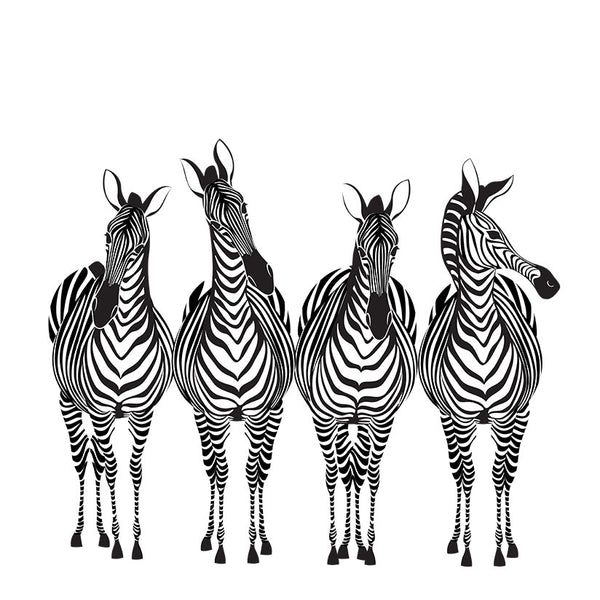 Hand-drawn Zebras – Extra Large Digital Art on Metal