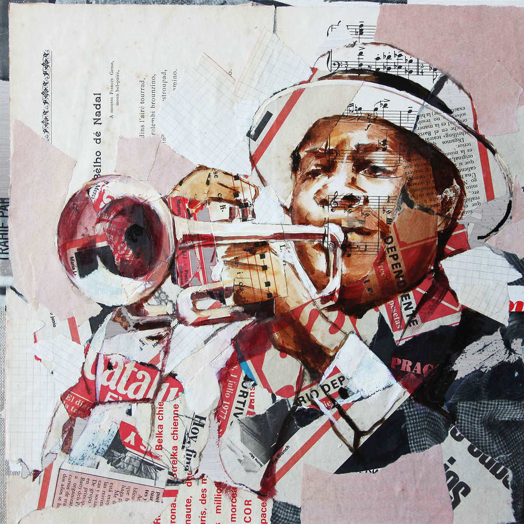 Carme Magem, Trumpeter – Collage Art Printed on Metal